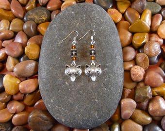 Smoky Quartz Fox Earrings - Fox Earrings, Fox Jewelry, Fox, Foxes, Wildlife Earrings, Wildlife Jewelry, Animal Earrings, Animal Jewelry
