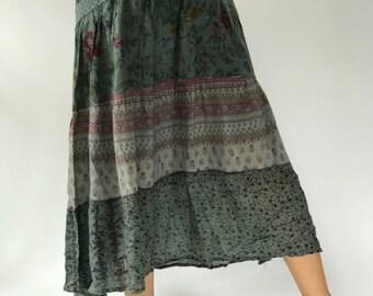 SK0057 bohemian Maxi Skirt for Beach Summer ,bohemian maxi skirt,gypsy skirt/boho skirt/cotton skirt/festival skirt