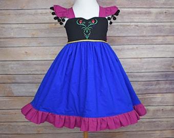 Princess Anna Inspired Girls Toddler Disney Everyday Princess Dress, Sizes 12 months to 12 Girls