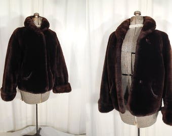 Vintage Fur Coat   Large Mouton Coat   Short Brown Real Fur Coat