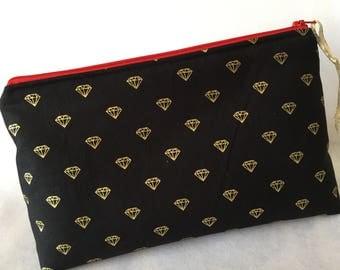 Gold Diamond Print Makeup Bag/Zipper Pouch