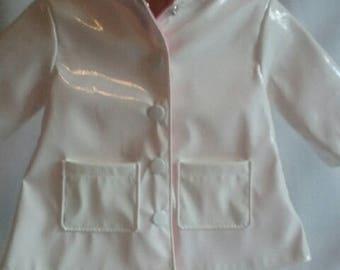 dolls white hooded raincoat