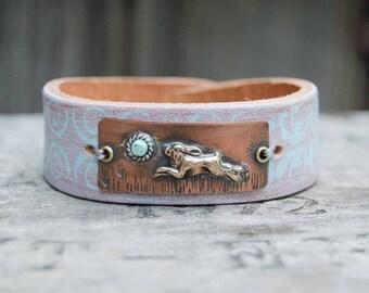 Distressed Leather & Cooper Bracelet . Running Rabbit. Boho. South Western Design. Cowgirl . Bracelet. Boho . By Nin and Bumm