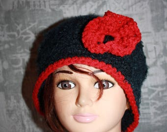 Black Hat with a big red flower