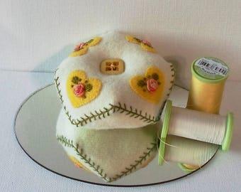 Handmade Baby Biscornu Pincushion Felted Wool Yellow Hearts on a White Biscornu Pincushion