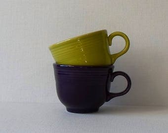 Vintage Fiestaware Cups Chartreuse and Purple - Made in USA