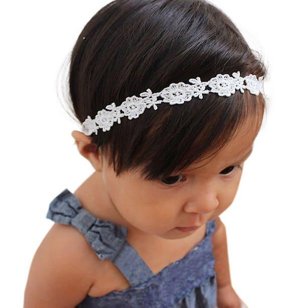 Baptism Headband, White Headband, Baby Headband, Lace Headband Baby, Halo Headband, Wedding Headpiece, Flower Girl Headband, Headband