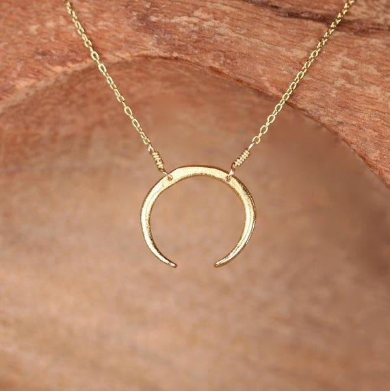 Gold crescent necklace, double horn, moon necklace, everyday jewelry, dainty necklace