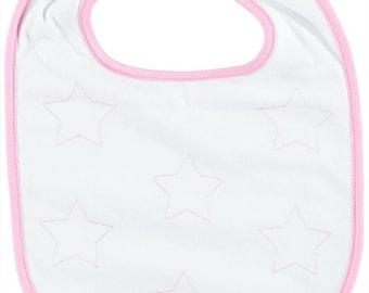 Bib top range for birthday gift-embroidered pink stars