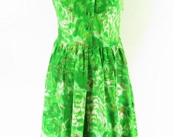 Vintage 60s Vogue Special Design Dress Womens M  Bow Green Floral [H91Z_1-1_Long]