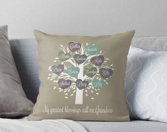 Personalized Mother's Day Gift, Grandma Cushion, Grandparents Throw Pillow, Family Tree Pillow, Great Grandmother Gift, Grandkids Pillow