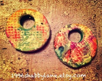 Handmade, OOAK Distressed, textured polymer Clay Beads