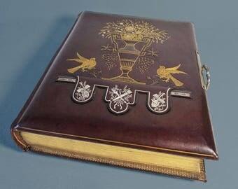 Album Photo Antique Français des années 1800 - recouvert de cuir véritable