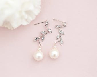 Freshwater Pearl Bridal Earrings, Pearl Wedding Earrings, Pearl Vine Earrings