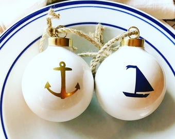 My anchor my sail nautical ornament gift set/personalized nautical christmas ornament/ sailboat ornament/anchor ornament/nautical weddi