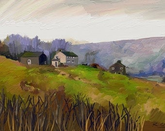 Yorkshire Farmhouse A4 art print
