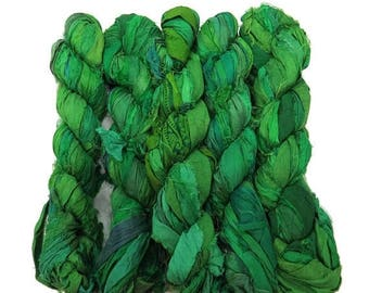 SALE New! 50g Recycled Sari Silk Ribbon, 25-28 yards , color Rainforest