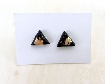 Black and gold triangle studs