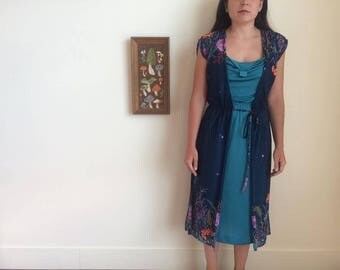 Vintage 70s strap dress with floral sheer overlay!!