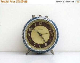 ON SALE Antique Hungarian Danuvia Mechanical Alarm Clock / Antique Blue Alarm Clock / Non Working Clock