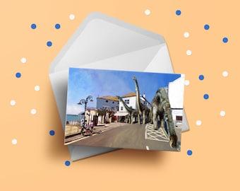 Lyme Regis Brachiosaurs Dinosaur Painting A6 Card