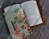 Medium size book cover / hands free book holder for small trade size books / bibliophile gift / book lover / floral print / arthritis help