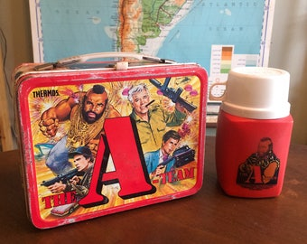 Vintage 1983 A-Team Lunch Box and Thermos Set - Fair Condition Great Graphics