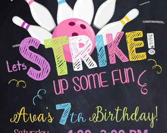 Bowling invitation, Bowling birthday invitation, , Bowling, Bowling party invitation, Bowling birthday, STRIKE,Bowling Party Digital file