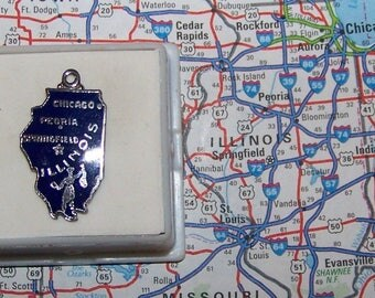 Vintage  ILLINOIS Sterling Silver  and Enamel State Charm -- Chicago, Peoria, Springfield