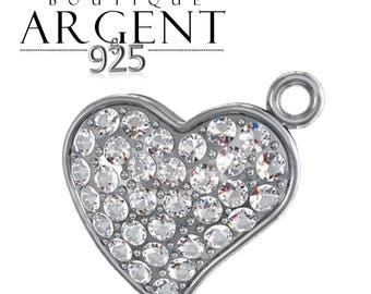 Heart shaped Sterling Silver 925 with swarovski crystals 16X15mm