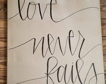 Love Never Fails 16x20 canvas