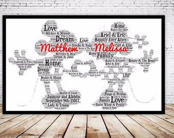 Personalised Word Art Gift Framed Disney Wedding Gift Mickey & Minnie Mouse Anniversary Engagement Son Daughter Auntie Sister