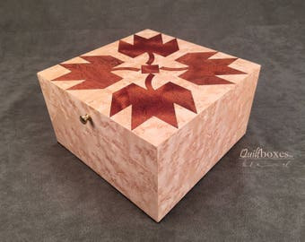 Autumn Leaves Wood Marquetry Box by Quilt Boxes