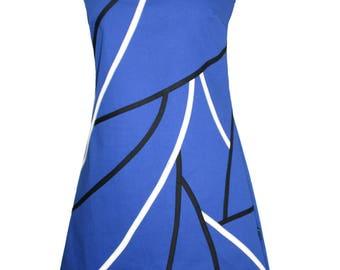 Dress Clayria at Chilia Royal blue black ecru fabric