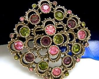 Vintage Sarah Coventry Rhinestone Brooch Pink Purple Peridot Green