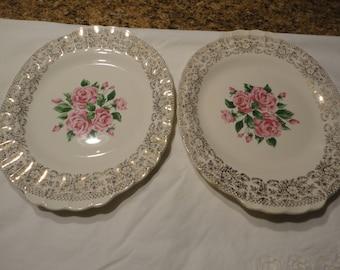 Vintage The Sebring Pottery Serving Platters Set Of 2 China Bouquet Pattern Warranted 22 K Gold