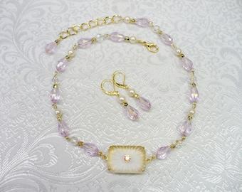 OOAK Vintage Authentic Art Deco Camphor Glass Pendant Lavender Purple Teardrop Crystal/Ivory PEARL Necklace/Earring Set - gold tone metal