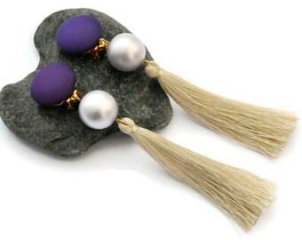 Tassel earrings, Clip on earrings, Purple earrings, Boho chic earrings, Long earrings, Clip tassel earrings, Fringe earrings, For her, UD5