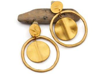Gold dangle earrings, Clip on earrings, Hammered earrings, Large round earrings, Matt Gold earrings, Large gold earrings, Boho hoop earring