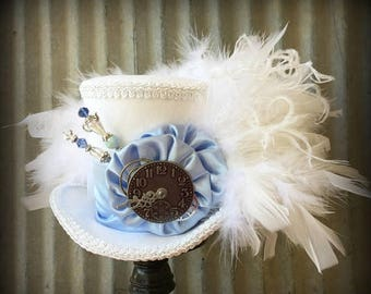 ON SALE Mini top Hat, Baby Blue and White Mini Top Hat, White Rabbit, Alice in Wonderland Hat, Mad Hatter Hat, Steampunk Mini Top Hat, Kentu