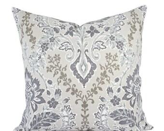 15% OFF SALE Two Decorative Pillow Covers - Purple Pillow Cover - Grey Throw Pillow - Floral Pillow Sham - Purple Damask Pillow - Accent Pil