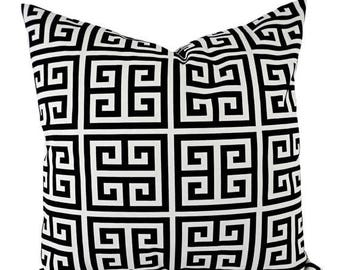 15% OFF SALE Decorative Pillow Covers - Two Black Geometric Throw Pillows - Greek Key Pillow Cover - Accent Pillow - 12x16 12x18 14x14 16x16
