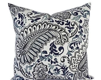 15% OFF SALE Two Pillow Covers - Blue Grey and Brown Throw Pillows - Floral Pillow Cover - Accent Pillow Sham - Pillow Covers 12x16 inch 16