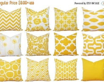15% OFF SALE Yellow Couch Pillow Covers - Decorative Pillows - Yellow and White Decorative Throw Pillow - Yellow Euro Sham - Yellow Lumbar P