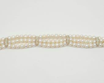 3 strand stirling silver pearl bracelet