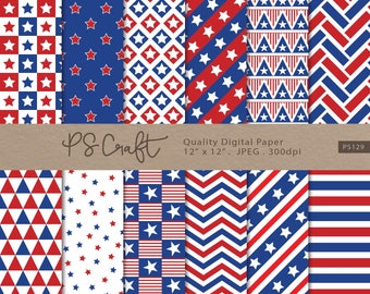 Patriotic digital papers, Seamless Independence day Digital Paper, 4th July Digital Paper, Navy Blue Red Pattern