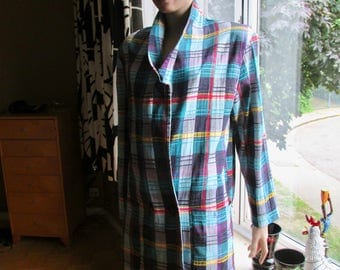 Vintage check jacket.Multi-colour check jacket.Colourful madras-check linen jacket.