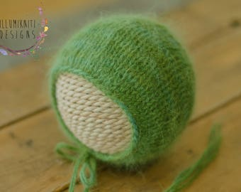 Newborn Props Fall Green Knit Bonnet - Newborn Green Angora Bonnet - Newborn Green Knit Bonnet - Newborn Basic Bonnet - Ready to Ship