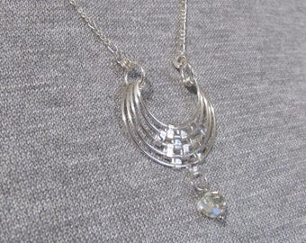 Silver toned crescent pendant w/earrings; glass tile and faceted beads, figaro chain