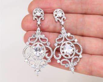 Art Deco Earrings, Great Gatsby 1920s Crystal  Earrings, Wedding Earrings, Bridal Jewelry, Teardrop  Wedding Jewellery, Bridal Earrings